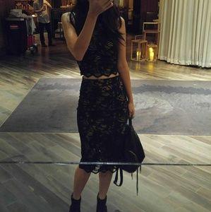 H&M Black Lace Crop Top, Set Available